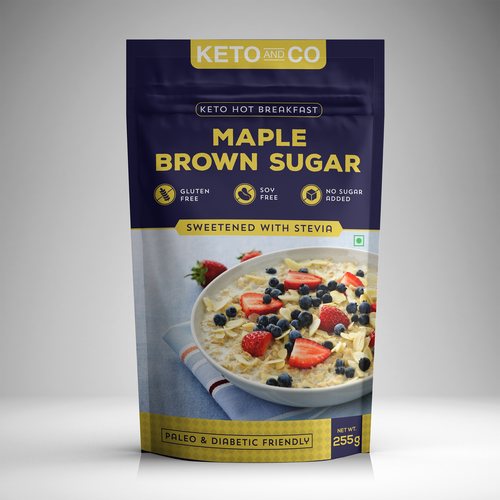 Breakfast food packaging with the title 'Retail Packaging for Low Carb Food Brand'