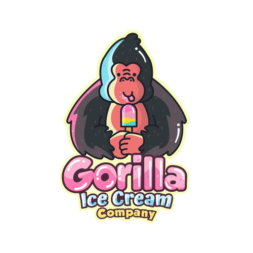 Adorable logo with the title 'Gorilla Ice Cream'
