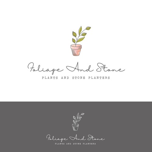 Gardener logo with the title 'Logo concept for a stone planter'