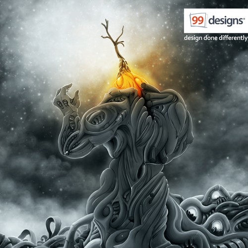 Surreal artwork with the title 'Visually stunning and creative illustration for 99designs!'
