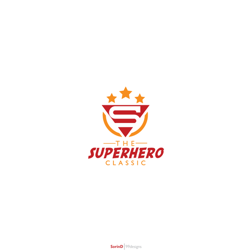 Orange and red logo with the title 'New logo wanted for The Superhero Classic'