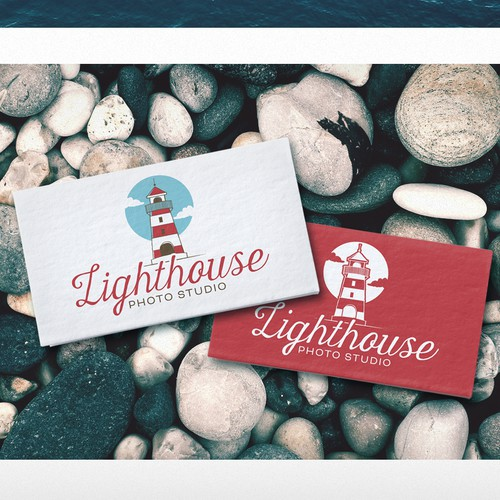 Beach logo with the title 'Logo for Lighthouse Photo Studio'