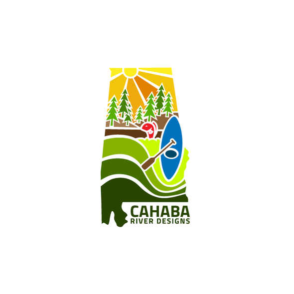 Canoe logo with the title 'Cahaba River Designs'