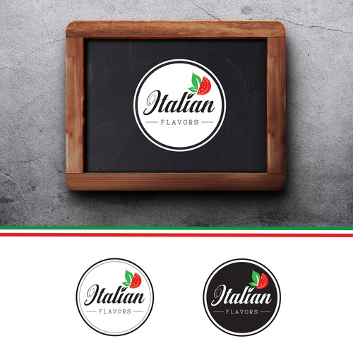 Italian food design with the title 'Logo for Italian Flavors Food Truck'