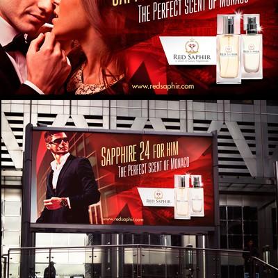 广告牌上的红色宝石男士香水