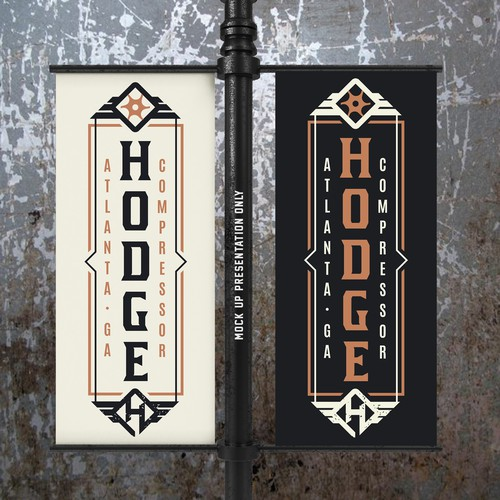 Mechanical logo with the title 'Hodge Compressor - VINTAGE INDUSTRIAL BRAND LOGO'