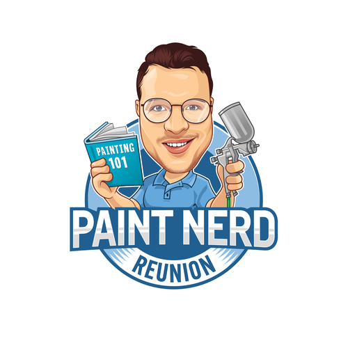 Nerd logo with the title 'Nerdy caricature for annual gathering of painters'