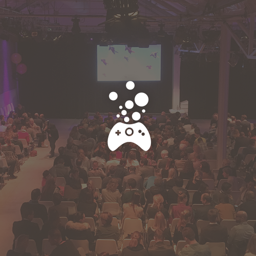 Bubble logo with the title 'Playful and friendly logo design for a Game Developers conference'