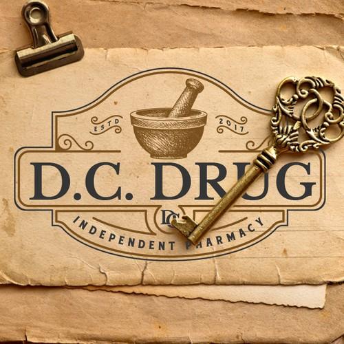 Art Deco logo with the title 'D. C. Drug'
