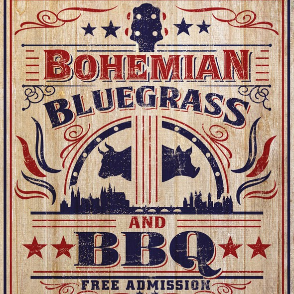 Flyer artwork with the title ' vintage Americana flyer for a BBQ/Bluegrass festival in Prague'