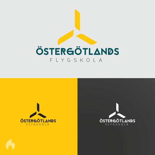 Aviation brand with the title 'Östergötlands Flygskola logo design'