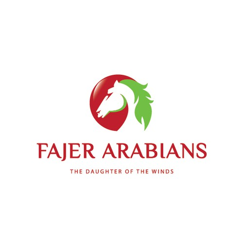 Horse head logo with the title 'Fajer Arabians'