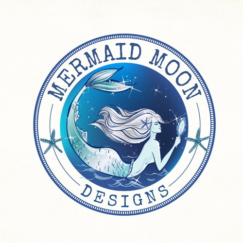 Beach design with the title 'Mermaid logo theme for Mermaid Moon lifestyle brand '