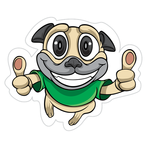 Pug design with the title 'Yes Pugg Emoji'