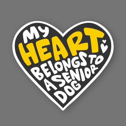 Paw design with the title 'MY HEART BELONGS TO A SENIOR DOG'