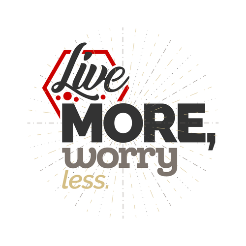 """Slogan design with the title 'Text-based logo for 'Live More Worry Less""""'"""