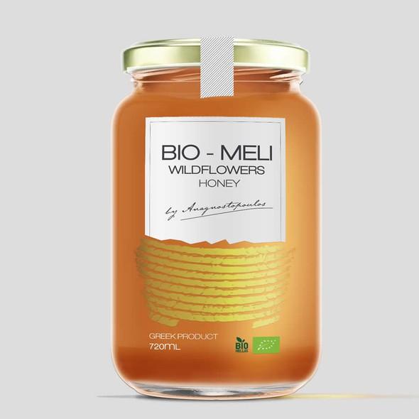 Health label with the title 'Bio Meli Wildflowers Honey'