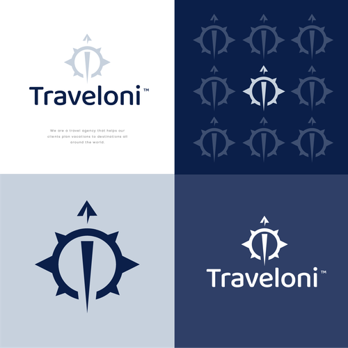 Compass logo with the title 'Traveloni'