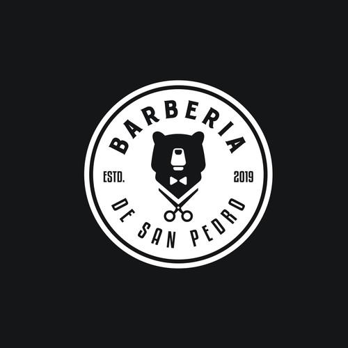 Barber brand with the title 'BARBERIA DE SAN PEDRO'