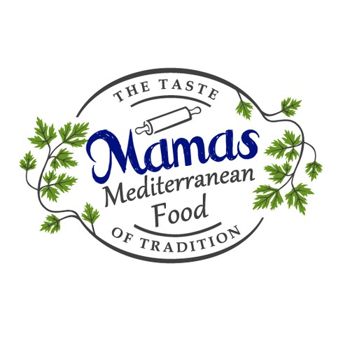 Green logo with the title 'Mediterranean Food Logo'