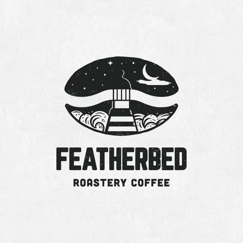 Lighthouse design with the title 'Logo For Roastery Coffee'