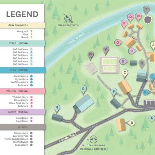 Legend design with the title 'Campus  Map'