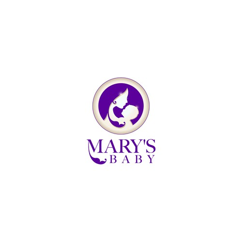 Mother and child design with the title 'Logo for Mary's Baby brand Baby and Mom care products.'