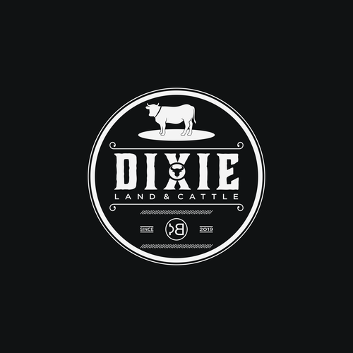 Classic design with the title 'dixie land& cattle'