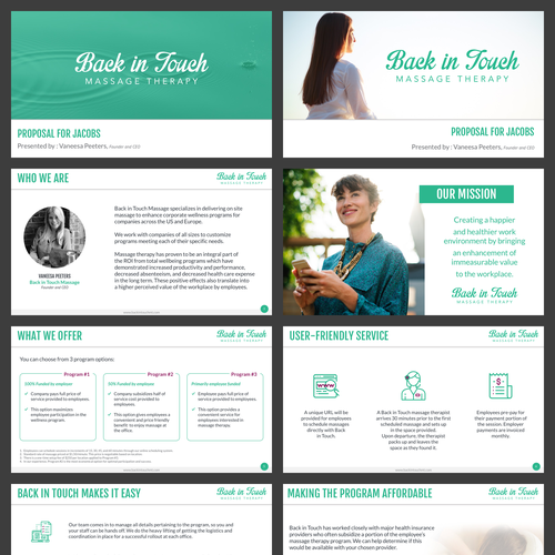 Massage design with the title 'A  Massage Therapy Pitch Deck'