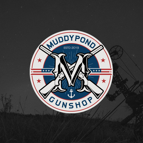 Tactical logo with the title 'Logo design for Muddypond Gunshop'