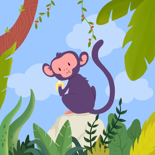 Tropical illustration with the title 'Cover for Banana Puffs'