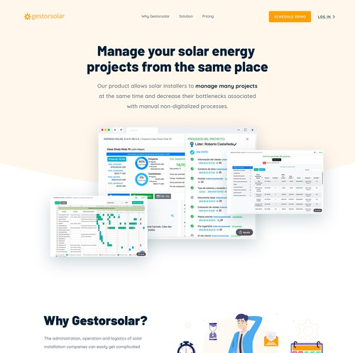 Solar design with the title 'Gestorsolar Wesbite Design'