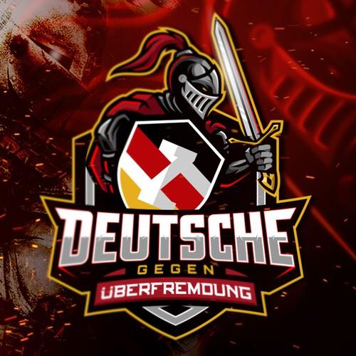 Barbarian logo with the title 'Deutsche gegen Überfremdung'