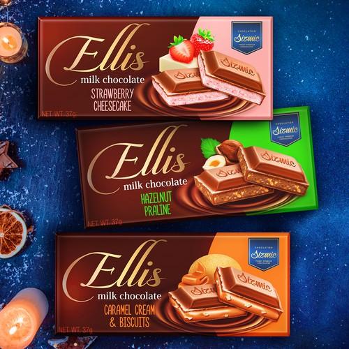 Dark chocolate packaging with the title 'Ellis milk chocolate'