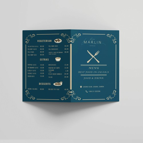 Print-ready design with the title 'Restaurant Food & Bar Menu'