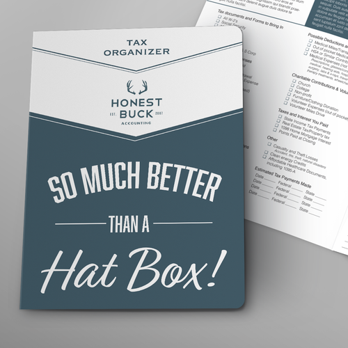 Cheeky design with the title 'Honest Buck Tax Organizer'