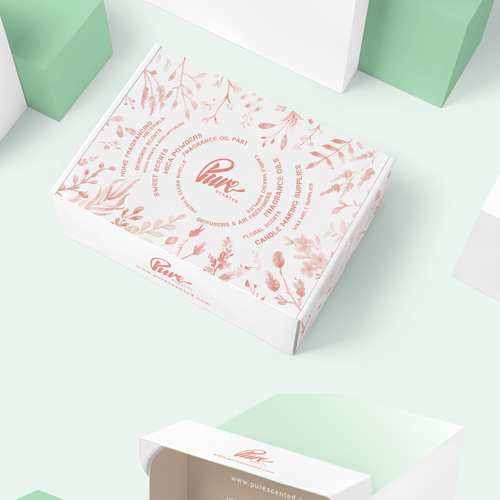 Perfume packaging with the title 'Packaging Design'