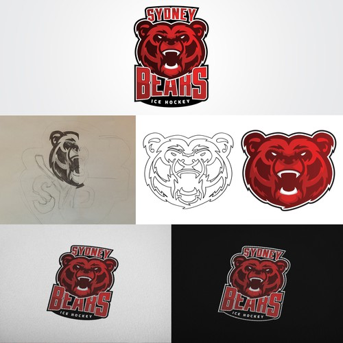 Ice hockey logo with the title 'Sydney Bears Logo'