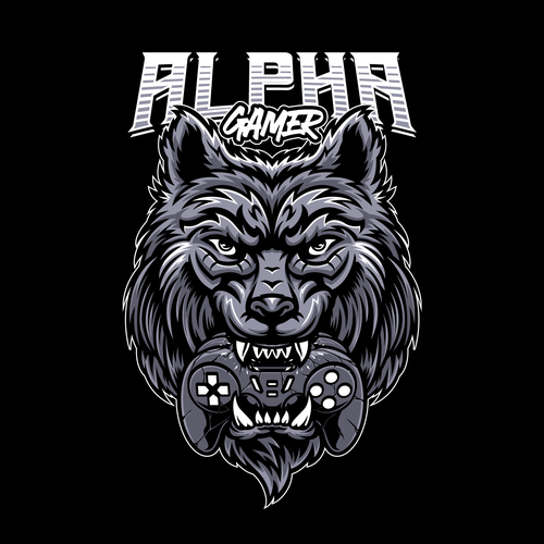 T-shirt with the title 'Wolf Bite Gamepad T-shirt Design'