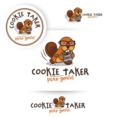 """Beaver design with the title 'Logo design with beaver character """"cookie taker""""'"""