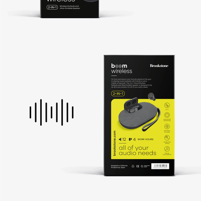 Boom wireless logo and package design