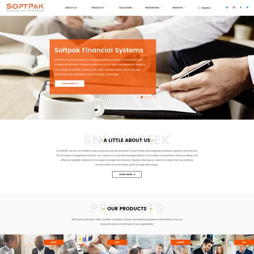 Bank design with the title 'Softpak Financial Systems'