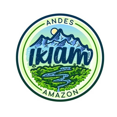 Jungle design with the title 'IKIAM, Andes & Amazon Organic Beverages'