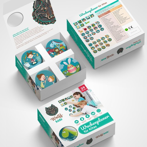 Playful packaging with the title 'package and Logo design'
