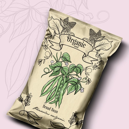 Hand-drawn packaging with the title 'Organic seed package design 🌱 Plahnt'