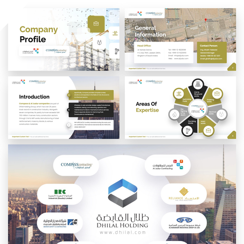 Pitch deck design with the title 'Powerpoint Presentation in Arabic About Company Profile'
