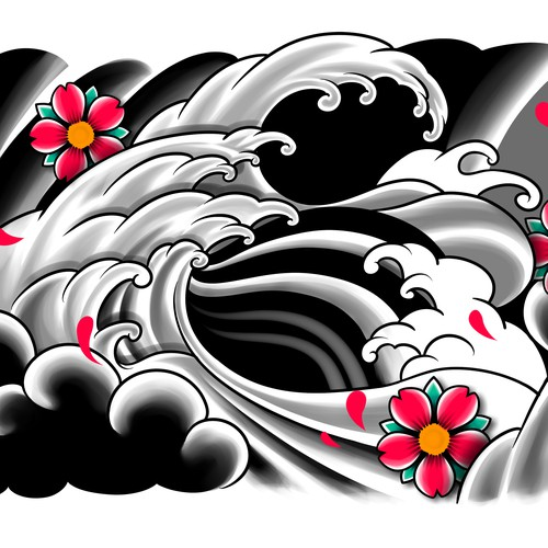 Japanese illustration with the title 'tattoo design'