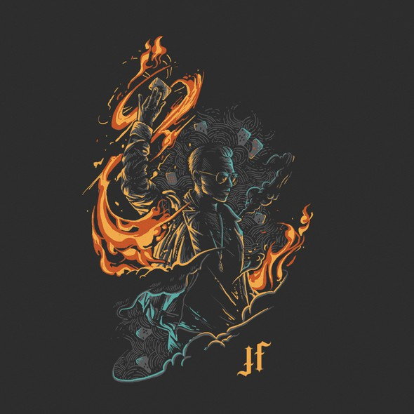 Fire t-shirt with the title 'Justin Flom Tour t-shirt design'
