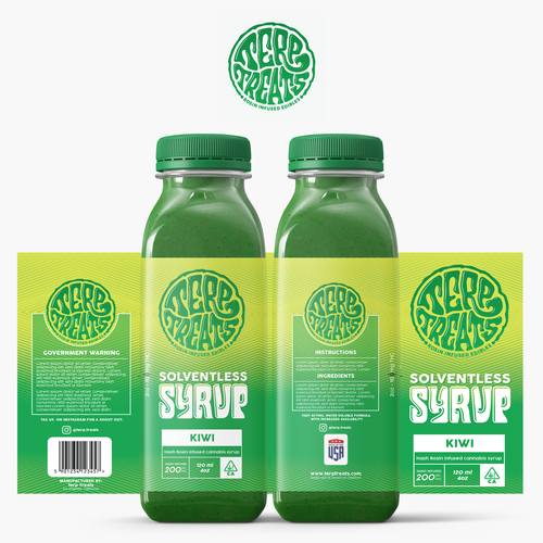 Kiwi design with the title 'Cannabis Infused Syrup Label Design'