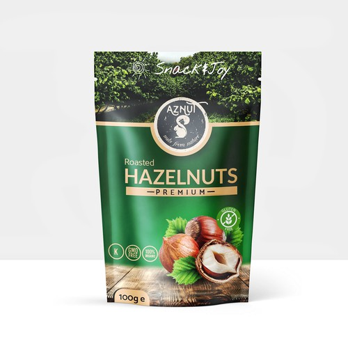 Snack packaging with the title 'Aznut Hazelnuts design'